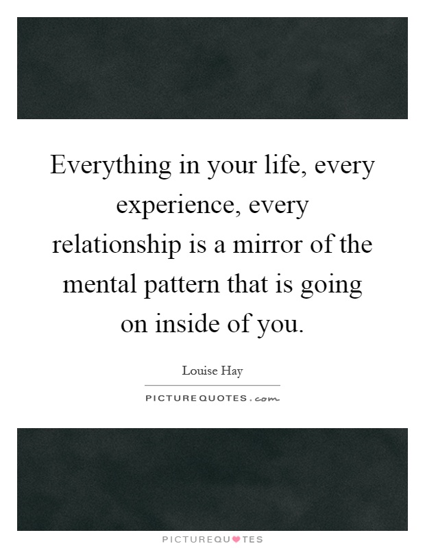 Everything in your life, every experience, every relationship is a mirror of the mental pattern that is going on inside of you Picture Quote #1