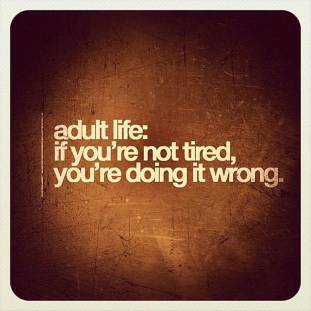 Adult life: if you're not tired, you're doing it wrong Picture Quote #1