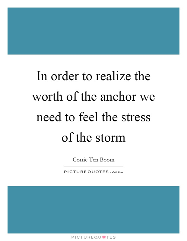 In order to realize the worth of the anchor we need to feel the stress of the storm Picture Quote #1