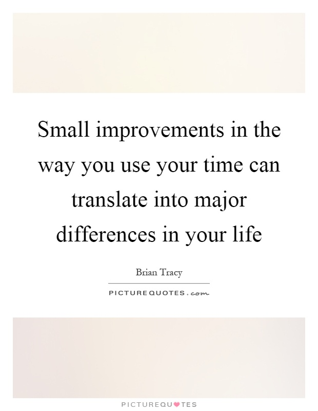 Small improvements in the way you use your time can translate into major differences in your life Picture Quote #1