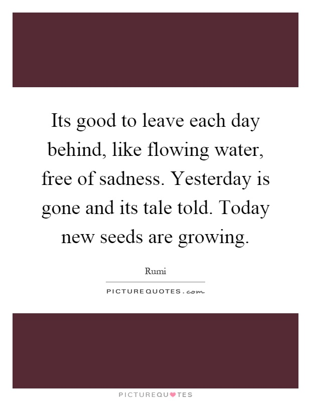 Its good to leave each day behind, like flowing water, free of sadness. Yesterday is gone and its tale told. Today new seeds are growing Picture Quote #1