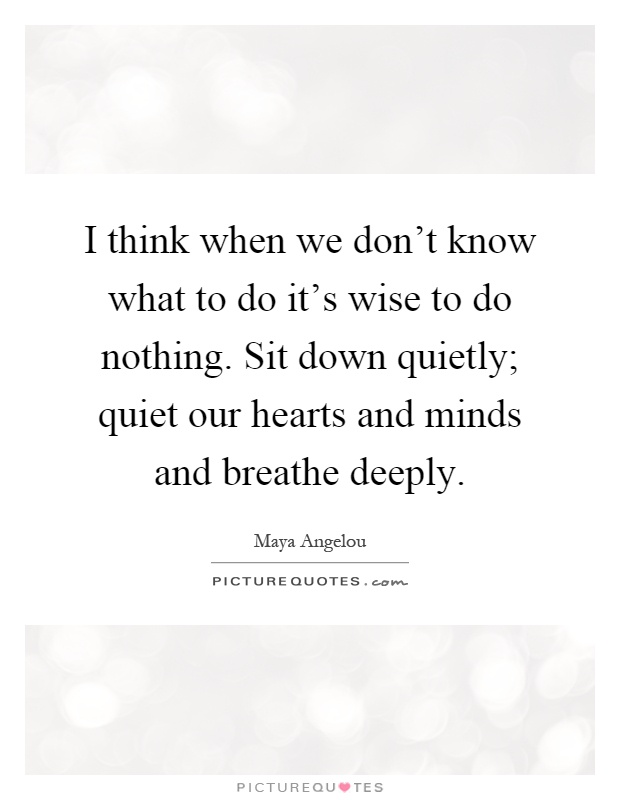 I think when we don't know what to do it's wise to do nothing. Sit down quietly; quiet our hearts and minds and breathe deeply Picture Quote #1