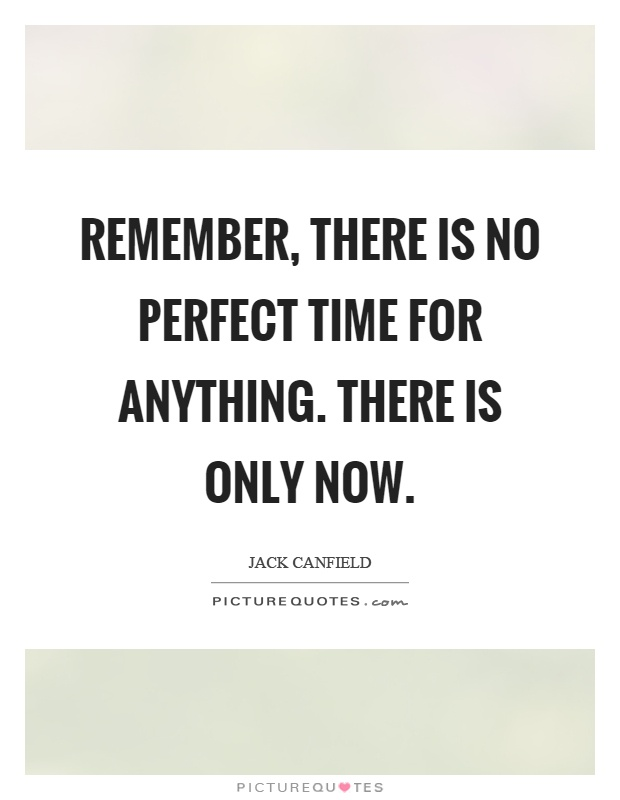 Remember, there is no perfect time for anything. There is only now Picture Quote #1