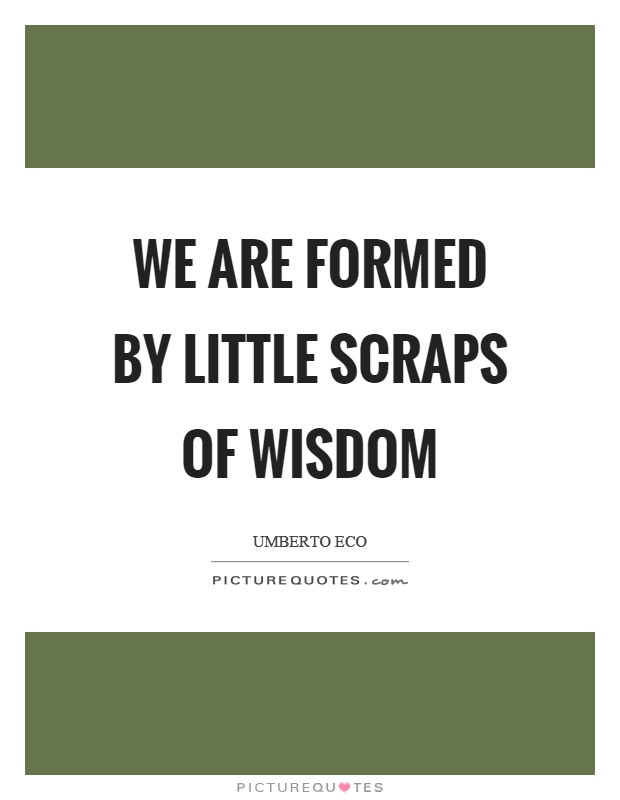 We are formed by little scraps of wisdom Picture Quote #1