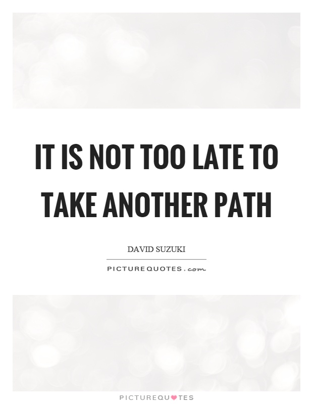 It is not too late to take another path Picture Quote #1