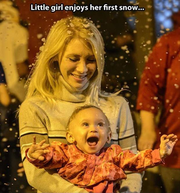 Little girl enjoys her first snow Picture Quote #1