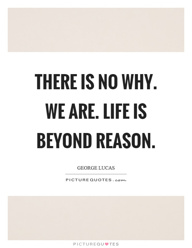 There is no why. We are. Life is beyond reason Picture Quote #1