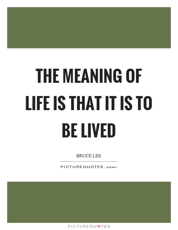 The meaning of life is that it is to be lived Picture Quote #1