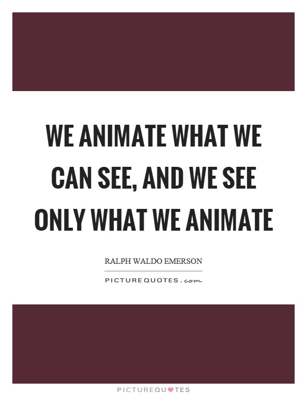We animate what we can see, and we see only what we animate Picture Quote #1