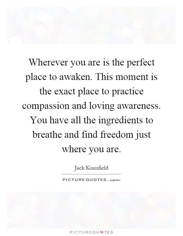 Wherever you are is the perfect place to awaken. This moment is the exact place to practice compassion and loving awareness. You have all the ingredients to breathe and find freedom just where you are Picture Quote #1