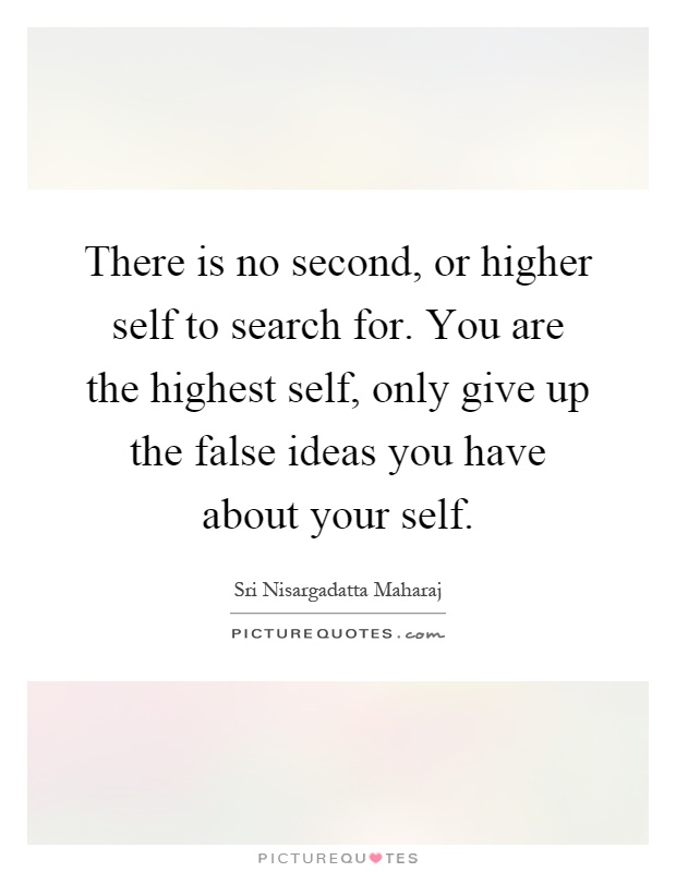 There is no second, or higher self to search for. You are the highest self, only give up the false ideas you have about your self Picture Quote #1