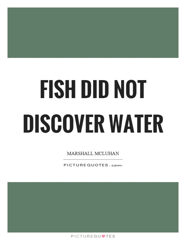 Fish did not discover water Picture Quote #1