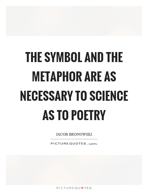 The symbol and the metaphor are as necessary to science as to poetry Picture Quote #1