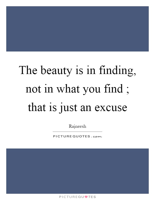 The beauty is in finding, not in what you find ; that is just an excuse Picture Quote #1