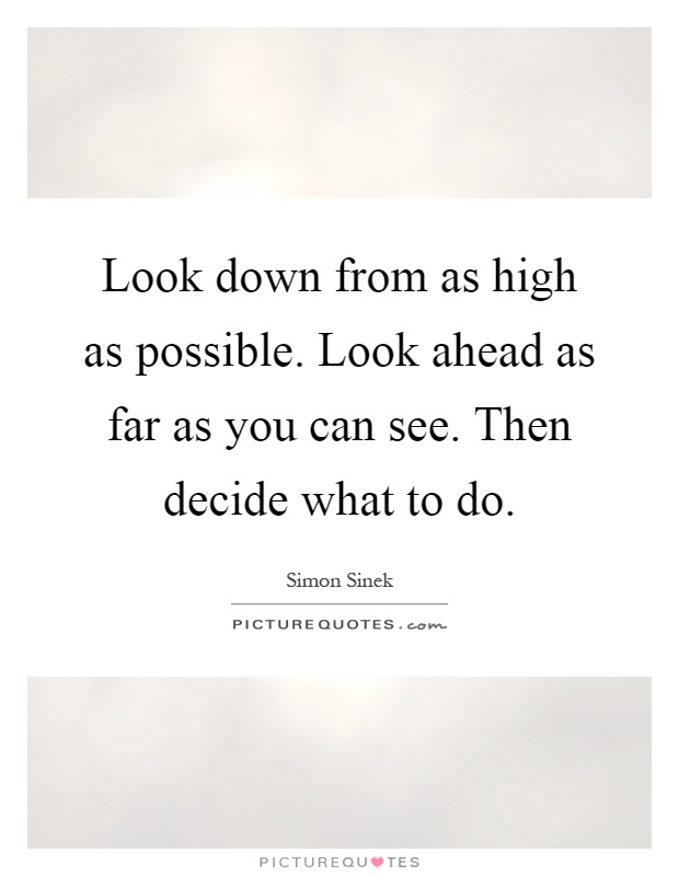 Look down from as high as possible. Look ahead as far as you can see. Then decide what to do Picture Quote #1