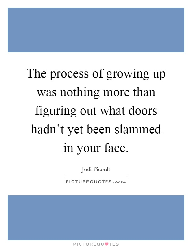 The process of growing up was nothing more than figuring out what doors hadn't yet been slammed in your face Picture Quote #1