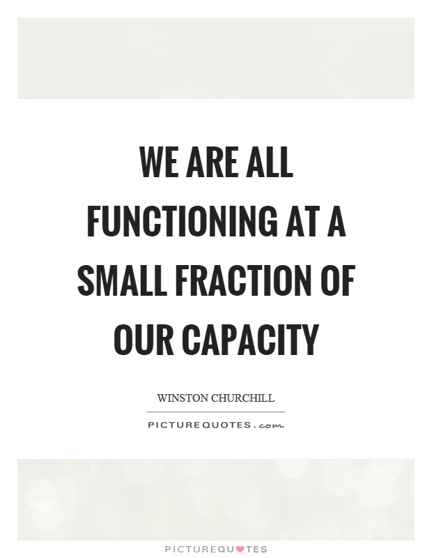 We are all functioning at a small fraction of our capacity Picture Quote #1