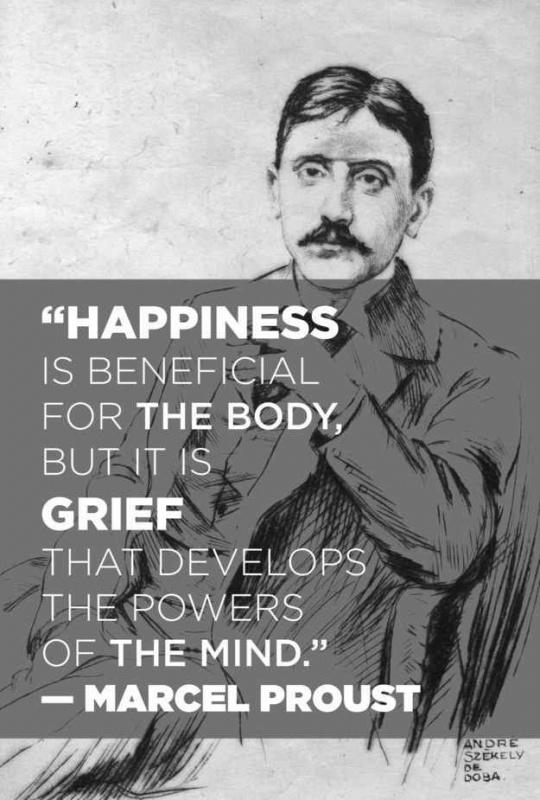 Happiness is beneficial for the body, but it is grief that develops the powers of the mind Picture Quote #2