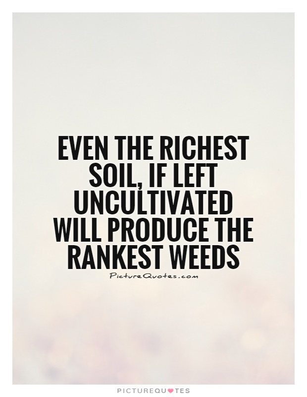 Even the richest soil, if left uncultivated will produce the rankest weeds Picture Quote #1