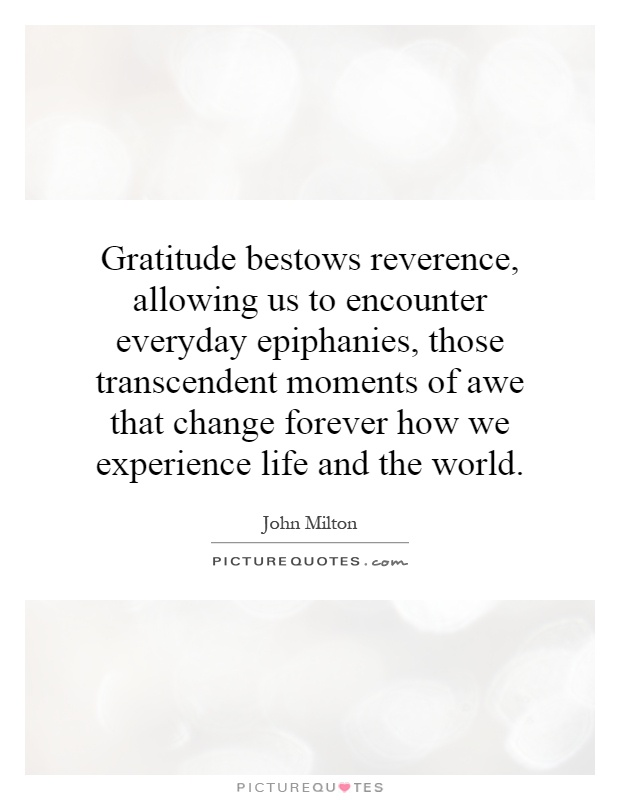 Gratitude bestows reverence, allowing us to encounter everyday epiphanies, those transcendent moments of awe that change forever how we experience life and the world Picture Quote #1