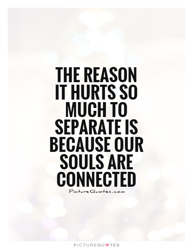 The reason it hurts so much to separate is because our souls are connected Picture Quote #1