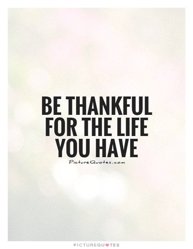 Be thankful for the life you have Picture Quote #1
