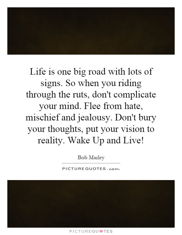 Life is one big road with lots of signs. So when you riding through the ruts, don't complicate your mind. Flee from hate, mischief and jealousy. Don't bury your thoughts, put your vision to reality. Wake Up and Live! Picture Quote #1