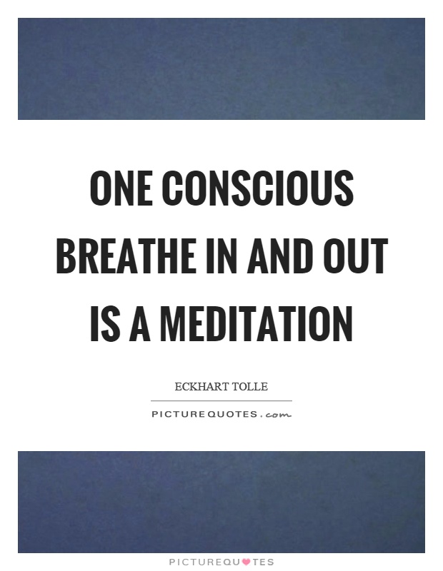 One conscious breathe in and out is a meditation Picture Quote #1