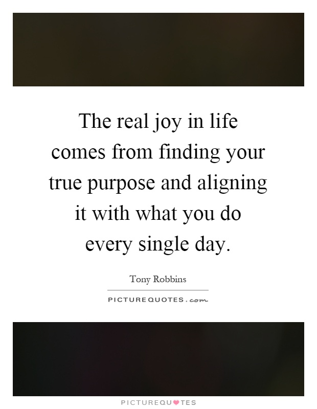 The real joy in life comes from finding your true purpose and aligning it with what you do every single day Picture Quote #1
