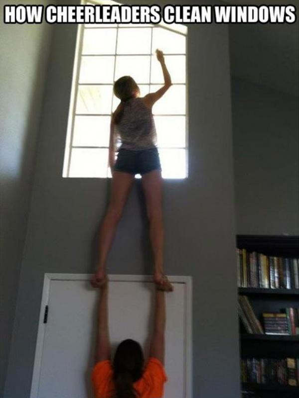 How cheerleaders clean windows Picture Quote #1