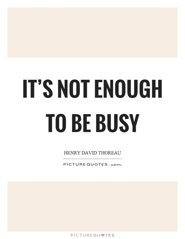 It's not enough to be busy Picture Quote #1