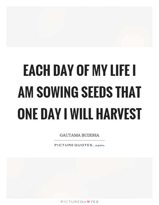 Each day of my life I am sowing seeds that one day I will harvest Picture Quote #1