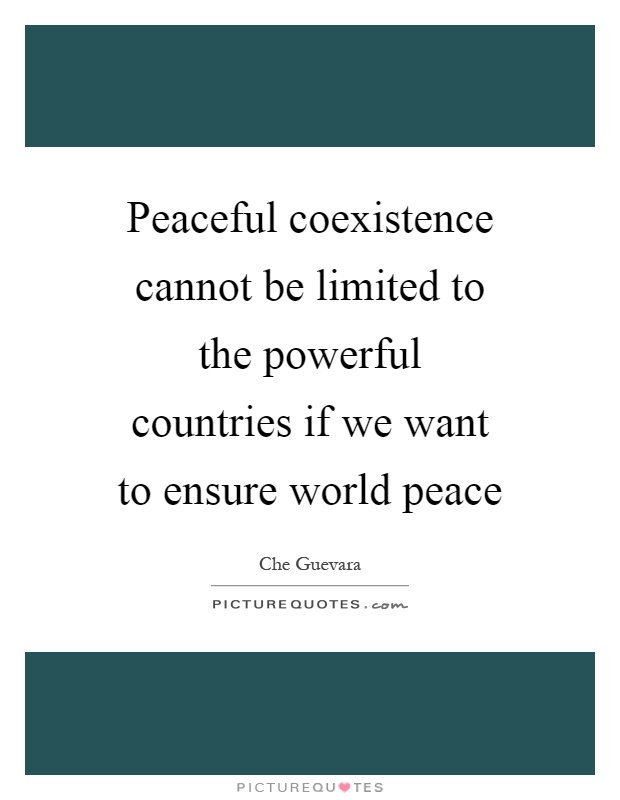 Peaceful coexistence cannot be limited to the powerful countries if we want to ensure world peace Picture Quote #1