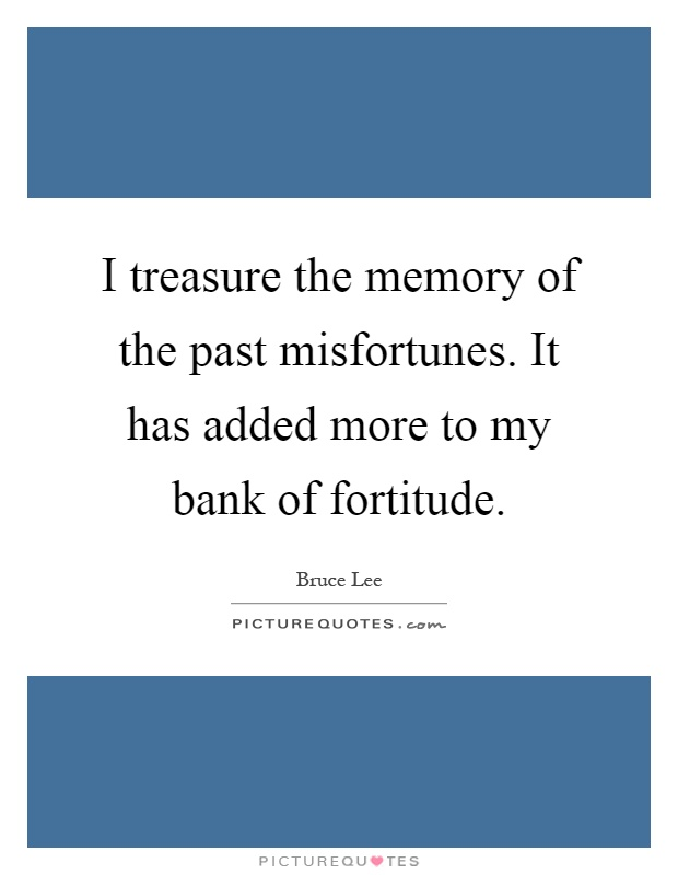 I treasure the memory of the past misfortunes. It has added more to my bank of fortitude Picture Quote #1