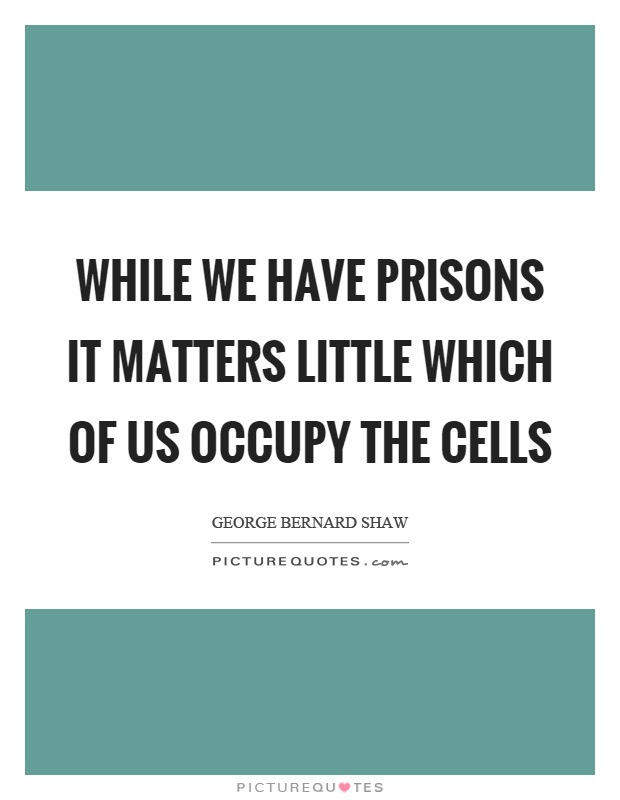 While we have prisons it matters little which of us occupy the cells Picture Quote #1