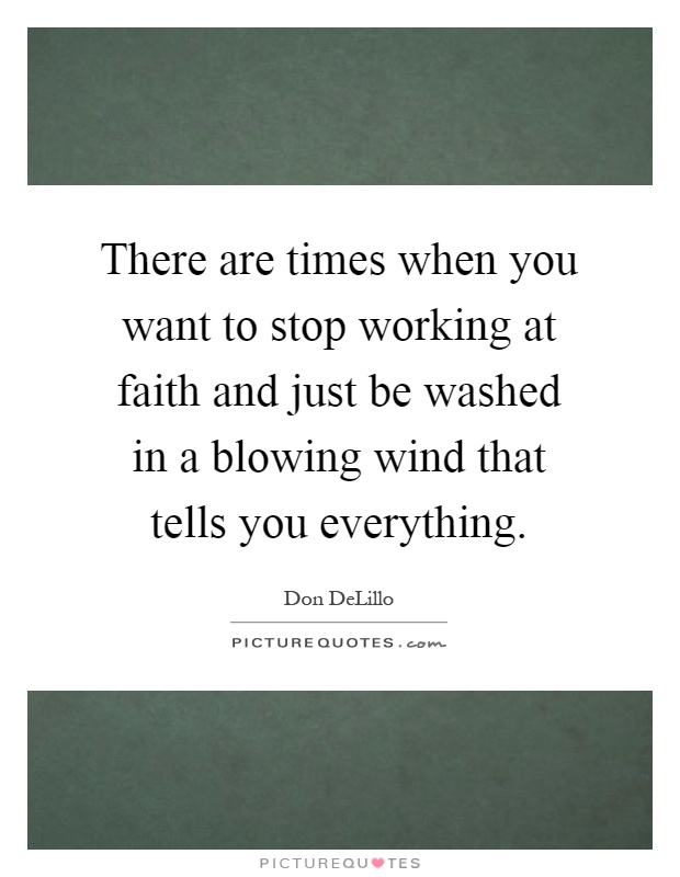 There are times when you want to stop working at faith and just be washed in a blowing wind that tells you everything Picture Quote #1