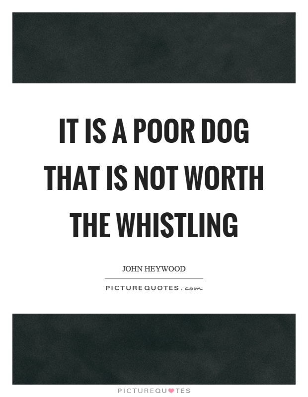 It is a poor dog that is not worth the whistling Picture Quote #1