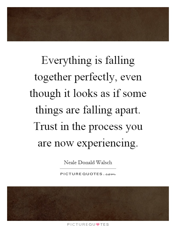 Everything is falling together perfectly, even though it looks as if some things are falling apart. Trust in the process you are now experiencing Picture Quote #1