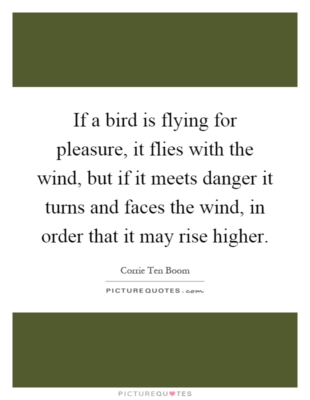 If a bird is flying for pleasure, it flies with the wind, but if it meets danger it turns and faces the wind, in order that it may rise higher Picture Quote #1