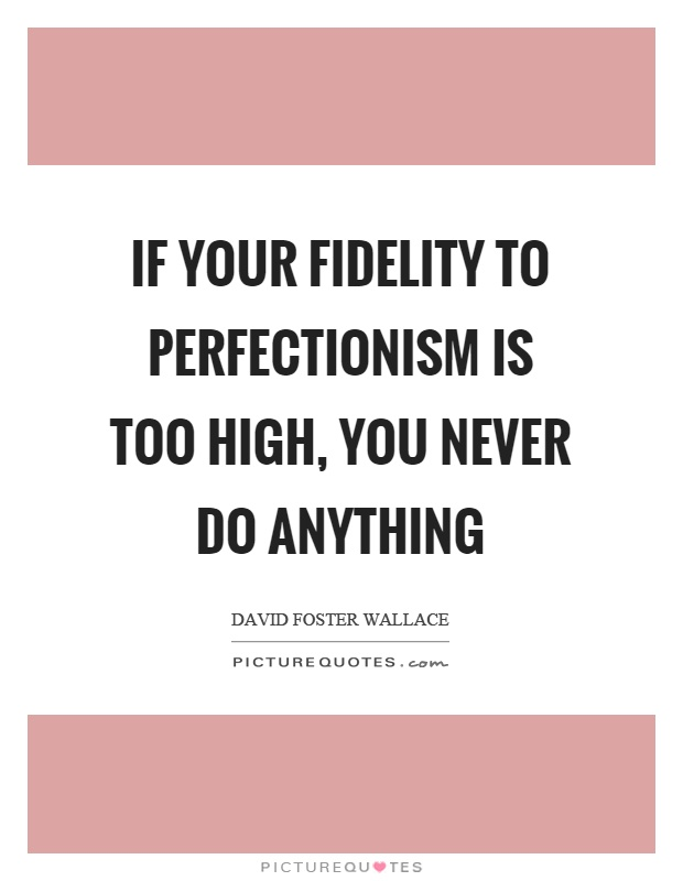 If your fidelity to perfectionism is too high, you never do anything Picture Quote #1