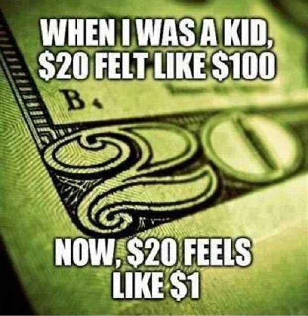 When I was a kid $20 felt like $100. Now, $20 feels like $1 Picture Quote #1