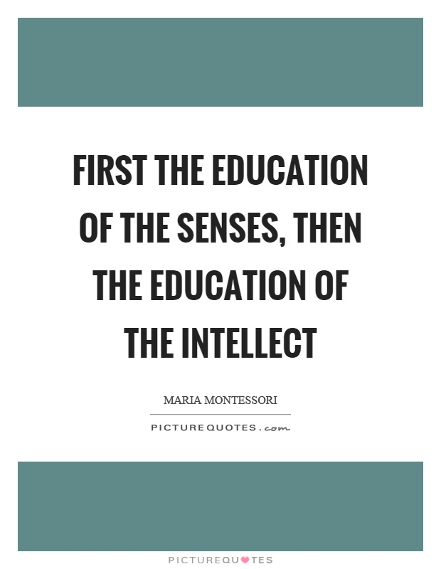 First the education of the senses, then the education of the intellect Picture Quote #1