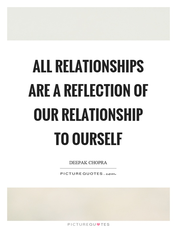 All relationships are a reflection of our relationship to ourself Picture Quote #1