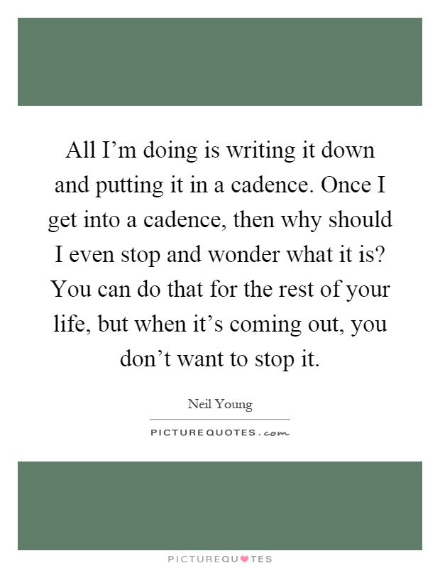 All I'm doing is writing it down and putting it in a cadence. Once I get into a cadence, then why should I even stop and wonder what it is? You can do that for the rest of your life, but when it's coming out, you don't want to stop it Picture Quote #1