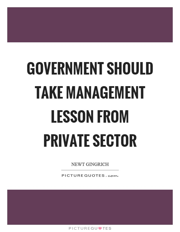 Government should take management lesson from private sector Picture Quote #1