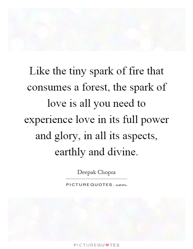 Like the tiny spark of fire that consumes a forest, the spark of love is all you need to experience love in its full power and glory, in all its aspects, earthly and divine Picture Quote #1