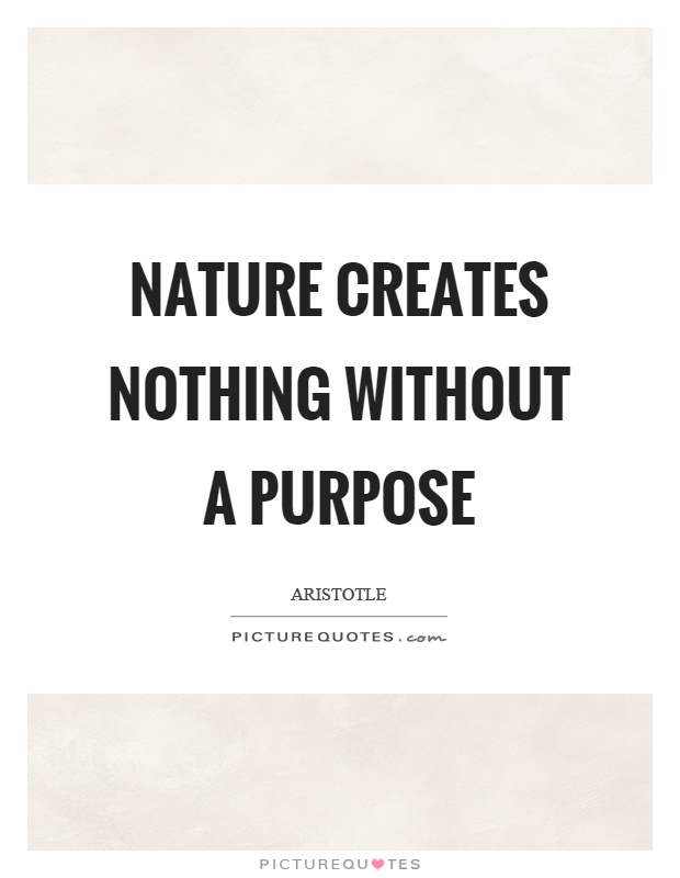 Nature creates nothing without a purpose Picture Quote #1