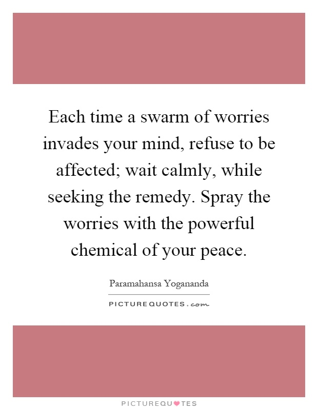 Each time a swarm of worries invades your mind, refuse to be affected; wait calmly, while seeking the remedy. Spray the worries with the powerful chemical of your peace Picture Quote #1