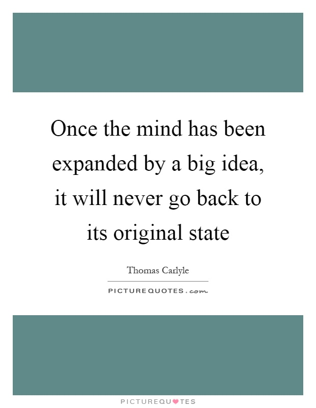 Once the mind has been expanded by a big idea, it will never go back to its original state Picture Quote #1
