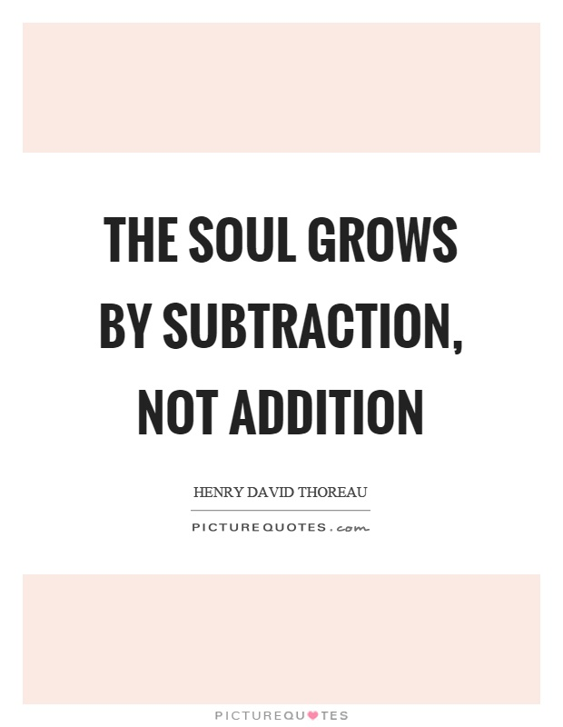 The soul grows by subtraction, not addition Picture Quote #1